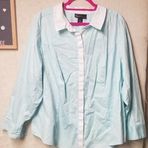Lane Bryant Light Teal Button Up Blouse